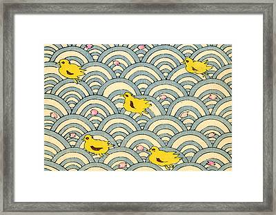 Vintage Japanese Illustration Of Ducklings Framed Print by Japanese School