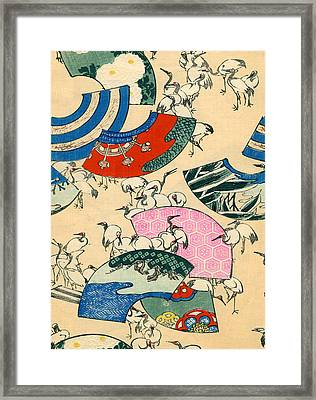 Vintage Japanese Illustration Of Fans And Cranes Framed Print by Japanese School