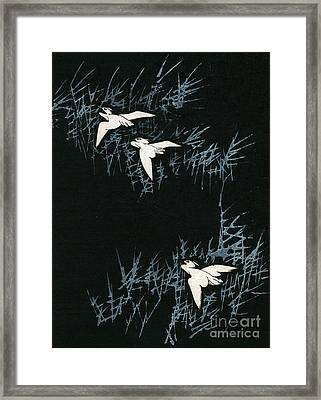 Vintage Japanese Illustration Of Three Cranes Flying In A Night Landscape Framed Print by Japanese School