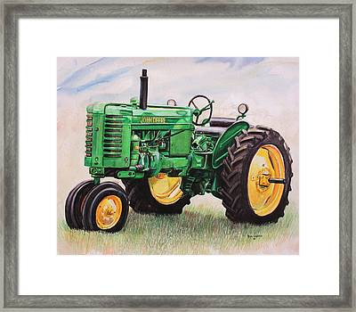 Vintage John Deere Tractor Framed Print by Toni Grote