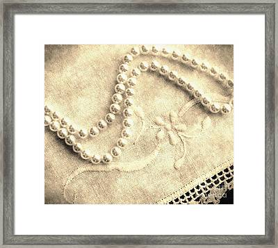 Vintage Lace And Pearls Framed Print by Barbara Griffin