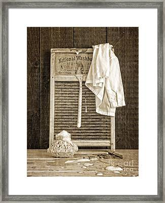 Vintage Laundry Room Framed Print by Edward Fielding