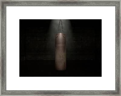 Vintage Leather Punching Bag Framed Print by Allan Swart