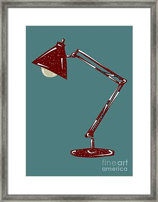 Vintage Linocut Desklamp Framed Print by Shawn Hempel