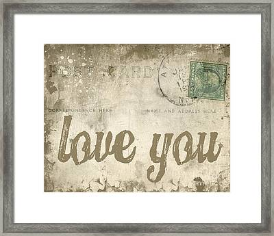 Vintage Love Letters Framed Print by Edward Fielding