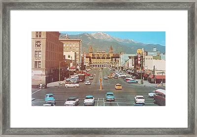 Vintage Main Street America  Framed Print by MeMi Renee
