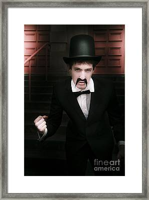 Vintage Man Fist Pumping Framed Print by Jorgo Photography - Wall Art Gallery