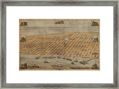 Vintage Map Of Galveston Texas 1871 Birds Eye Street View  Framed Print by Design Turnpike