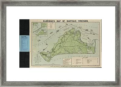 Vintage Map Of Martha's Vineyard - 1913 Framed Print by CartographyAssociates