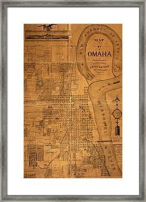 Vintage Map Of Omaha Nebraska 1878 Framed Print by Design Turnpike