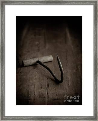 Vintage Meat Hook Framed Print by Edward Fielding