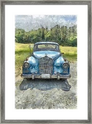 Vintage Mercedes-benz Pencil Framed Print by Edward Fielding