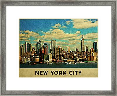 Vintage New York City Skyline Framed Print by Flo Karp