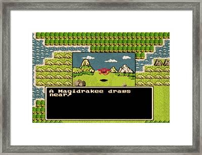 Vintage Nintendo Nes Dragon Warrior Game Scene Framed Print by Design Turnpike
