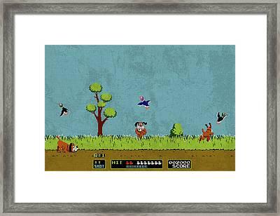 Vintage Nintendo Nes Duck Hunt Game Scene Framed Print by Design Turnpike
