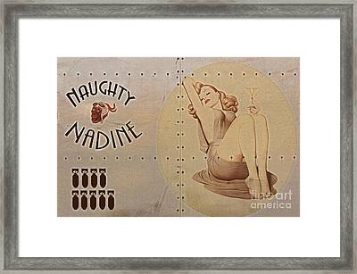 Vintage Nose Art Naughty Nadine Framed Print by Cinema Photography