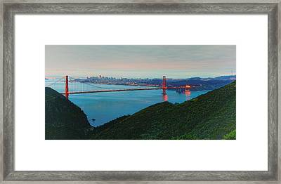 Vintage Panorama Of The Golden Gate Bridge From The Marin Headlands - San Francisco California Framed Print by Silvio Ligutti