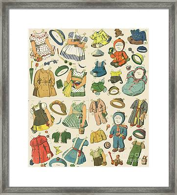 Vintage Paper Dolls  Framed Print by Edward Fielding