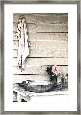 Vintage Peony And Hand Wash Basin Framed Print by Julie Palencia