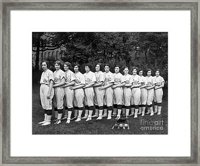 Vintage Photo Of Women's Baseball Team Framed Print by American School
