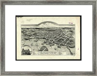 Vintage Pictorial Map Of Edgartown Ma - 1886 Framed Print by CartographyAssociates