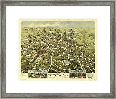 Vintage Pictorial Map Of New Britain Ct - 1875 Framed Print by CartographyAssociates