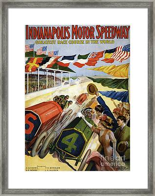 Vintage Poster Advertising The Indianapolis Motor Speedway Framed Print by American School