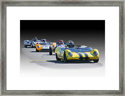 Vintage Racecar 'home Stretch' Framed Print by Dave Koontz