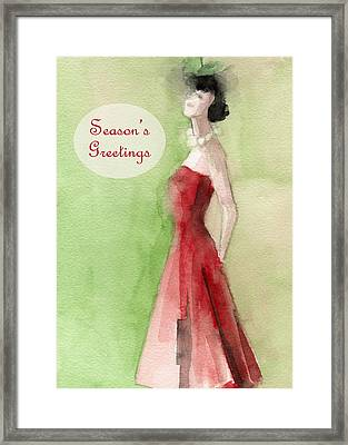 Vintage Red Dress Fashion Holiday Card Framed Print by Beverly Brown Prints