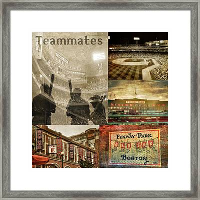 Vintage Red Sox Fenway Park Baseball Collage Framed Print by Joann Vitali