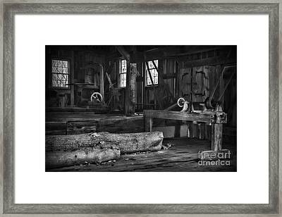 Vintage Sawmill In Black And White Framed Print by Paul Ward