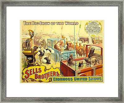 Vintage Sells Brothers' Circus Poster 2-6  Framed Print by MMG Archives