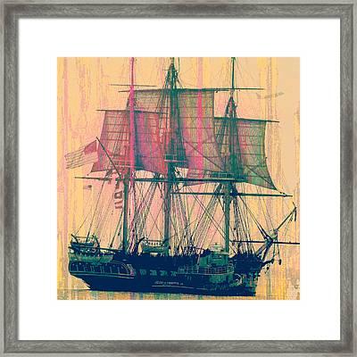 Vintage Ship V3 Framed Print by Brandi Fitzgerald