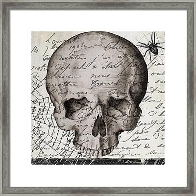 Vintage Skull Halloween Paris Framed Print by Mindy Sommers
