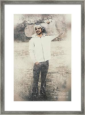 Vintage Snowboarding Man Carrying Board In Snow Framed Print by Jorgo Photography - Wall Art Gallery