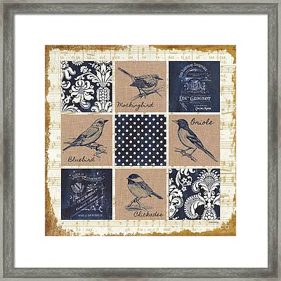 Vintage Songbird Patch 2 Framed Print by Debbie DeWitt