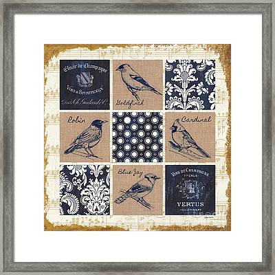 Vintage Songbirds Patch Framed Print by Debbie DeWitt