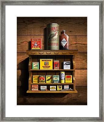 Vintage Spice Tins 2 - Nostalgic Spice Rack - Americana Kitchen Art Decor  Framed Print by Walt Curlee