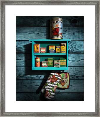 Vintage Spice Tins - Nostalgic Spice Rack - Americana Kitchen Art Decor  Framed Print by Walt Curlee
