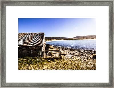 Vintage Stone Beach Cabin  Framed Print by Jorgo Photography - Wall Art Gallery
