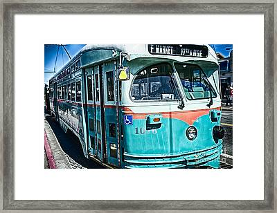 Vintage Streetcar Of San Francisco Framed Print by George Oze