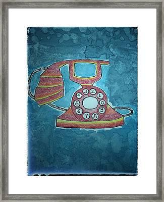 Vintage Telephone Framed Print by Jaya Sanskriti Maharishi