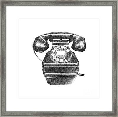 Vintage Telephone Tee Framed Print by Edward Fielding