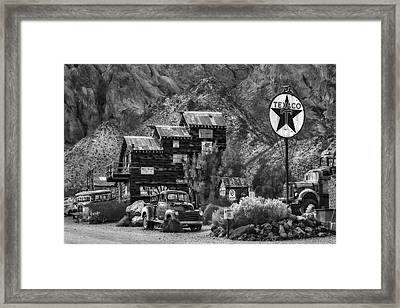 Vintage Texaco Gas Station Bw Framed Print by Susan Candelario