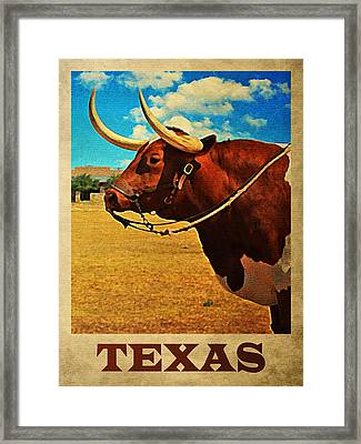 Texas Bull Framed Print by Flo Karp