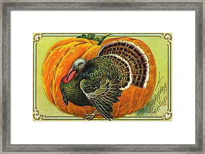Vintage Thanksgiving Card Framed Print by American School