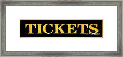 Vintage Tickets Sign Framed Print by Olivier Le Queinec