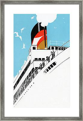 Vintage Travel Poster A Cruise Ship With Passengers, 1928 Framed Print by American School