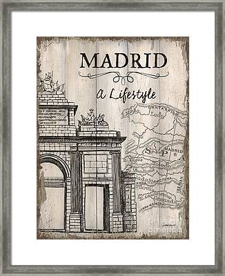 Vintage Travel Poster Madrid Framed Print by Debbie DeWitt