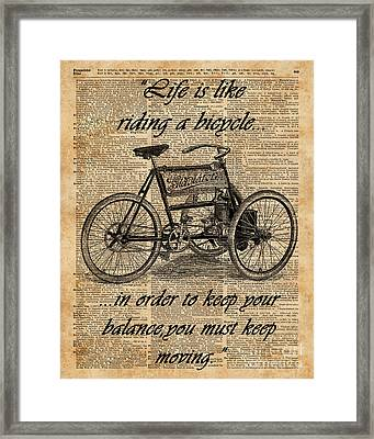 Vintage Tricycle Antique Bicycle Motivational Quote Retro Dictionary Art Framed Print by Jacob Kuch